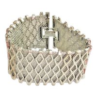 Wide Mesh Silvertone Bracelet with Pretty Diamond Design