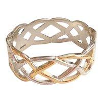 Hinged  Weaved Design Silvertone and Goldtone Bracelet