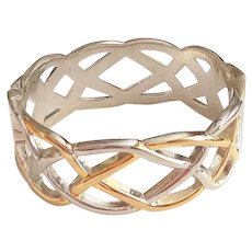 Hinged  Weaved Design Silvertone and Goldtone Bracelet