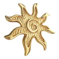 Burst of Sunshine Goldtone Brooch / Pendant with Pretty Swirl Center