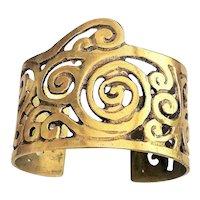 Wide Brass Opened Designed Cuff Bracelet