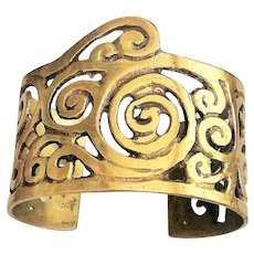 Wide Brass Opened Designed Cuff Bracelet