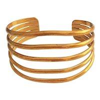 Wide Brass Open Designed Cuff Bracelet