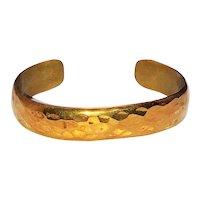 Brass Cuff Bracelet  with Hammered Look Design