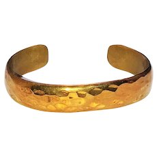 Brass Cuff Bracelet  with Hammered Look Design