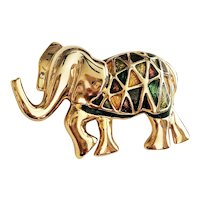 Enameled Green, Brown and Yellow on Goldtone Elephant Brooch