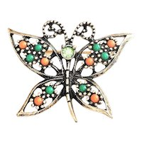 SARAH COVENTRY  signed Butterfly Goldtone Pin Brooch