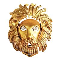 Lion's Head with Moving Mouth Goldtone Brooch with Rhinestone Eyes
