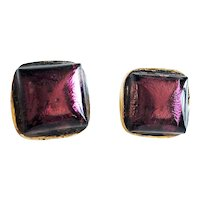 Square Goldtone Clip On Earring with Pretty Purple Glass