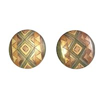 Round Southwestern Design Clip On Earrings