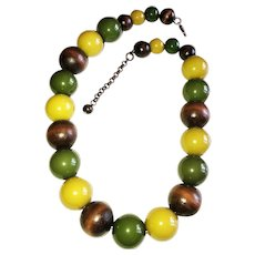 Large Green Acrylic and Brown Wood Beaded Necklace