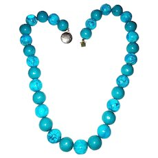 Pretty Turquoise and Blue Marbled Acrylic Beaded Necklace