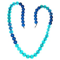 Turquoise and Blue  Frosted Acrylic Beaded Necklace