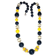 Dark Blue and Yellow Acrylic Beaded Necklace with Pretty Gold and White Bead Accents