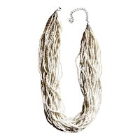 Pretty Multi Strand White Glass Beaded Necklace
