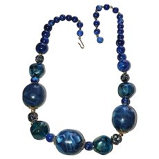 Dark Blue Marbled Look Acrylic Beaded Necklace