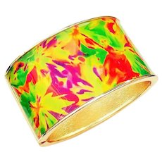 Wide Hinged Goldtone Bracelet with Pretty Bright Color Enamel