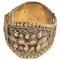 Wide Hinged Brass Bracelet with Pretty Design and Amber Rhinestones