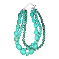 AVON signed Multi Strand Turquoise Color Acrylic Beaded Necklace