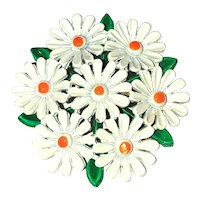 Enameled White Daisy Cluster Circle Brooch with Pretty Green Leaves