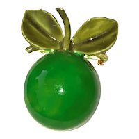 Enameled Green Apple Pin Brooch with Pretty Green Leaves