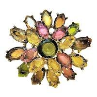 MONET signed Goldtone and Pretty Rhinestone Flower Brooch