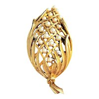 LISNER signed Goldtone Leaves with Faux Pearls Pin Brooch