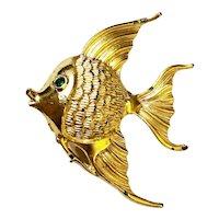 Cute Fish Goldtone Brooch with Pretty Green Rhinestone Eye