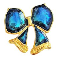 Enameled Cute Little Blue and Goldtone Bow Brooch