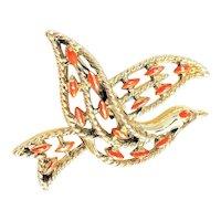 GERRYS signed  Goldtone Bird Brooch with Pretty Orange Enamel