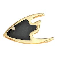 Enameled Black on Goldtone Fish Brooch with Rhinestone Eye