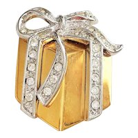 Christmas Gift Box Goldtone Brooch with Sparkling Rhinestones