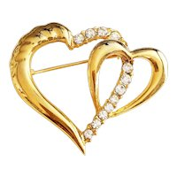 Double Heart Goldtone Pin Brooch with Pretty Clear Rhinestones