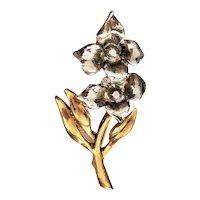 Beautiful Silvertone Flowers with Goldtone Leaves Brooch