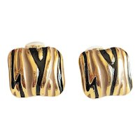 Square Goldtone Clip On Earring with Black and Gray Enamel