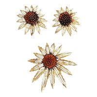 SARAH COVENTRY signed Flower with Amber Color Center Brooch Set with Matching Clip Earrings