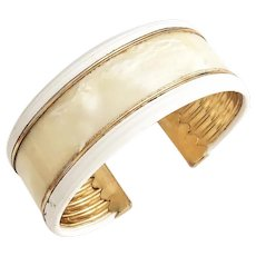 Wide Cream Marbled Acrylic Cuff Bracelet with Goldtone