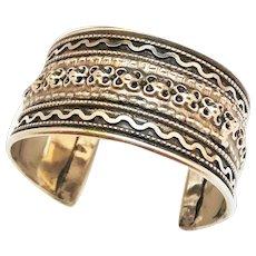 Wide Silvertone Etched Cuff Bracelet