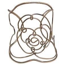 Wide Wire Flower Designed Silvertone Bracelet