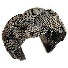 Wide Weaved Mesh Cuff Silvertone Bracelet