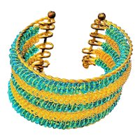 Wide Goldtone Cuff Bracelet with Pretty Gold and Blue Glass Beads