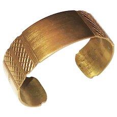 Brass Wide Cuff Bracelet with Pretty Etched Design