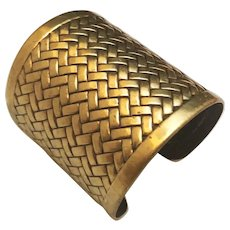 Wide Brass Weaved Designed Cuff Bracelet