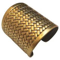 Wide Brass Weaved Designed Cuff Bracelet