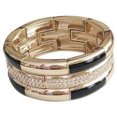 ANN TAYLOR signed Black and Goldtone Stretch Bracelet with Rhinestones