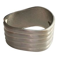 Wide Hinged Brushed Silvertone Bracelet