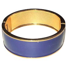 Hinged  Goldtone Bracelet with Pretty Blue Enamel
