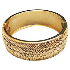 Hinged  Goldtone Bracelet with Pretty Etched Weave Design