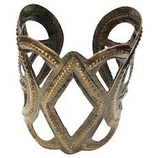 Wide Open Cut Out Design Cuff  Bracelet