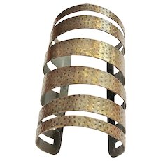 Wide Brass Open Cut Out Designed Cuff  Bracelet